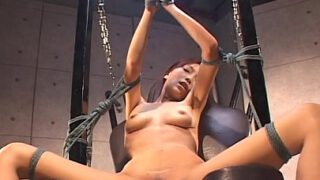 BDSM Asian with sexy lingerie sucking and titty fucking