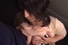 Big-titted Asian amateur sucking dick with a breastfuck